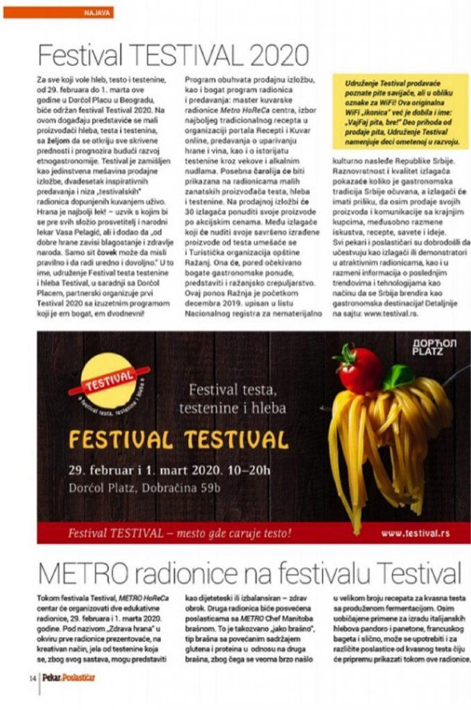 #TESTIVAL2020, izveštaj u magazinu Pekar&Poslastičar