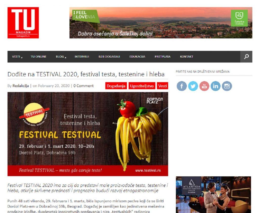 Najava za #TESTIVAL2020 na TU Magazin
