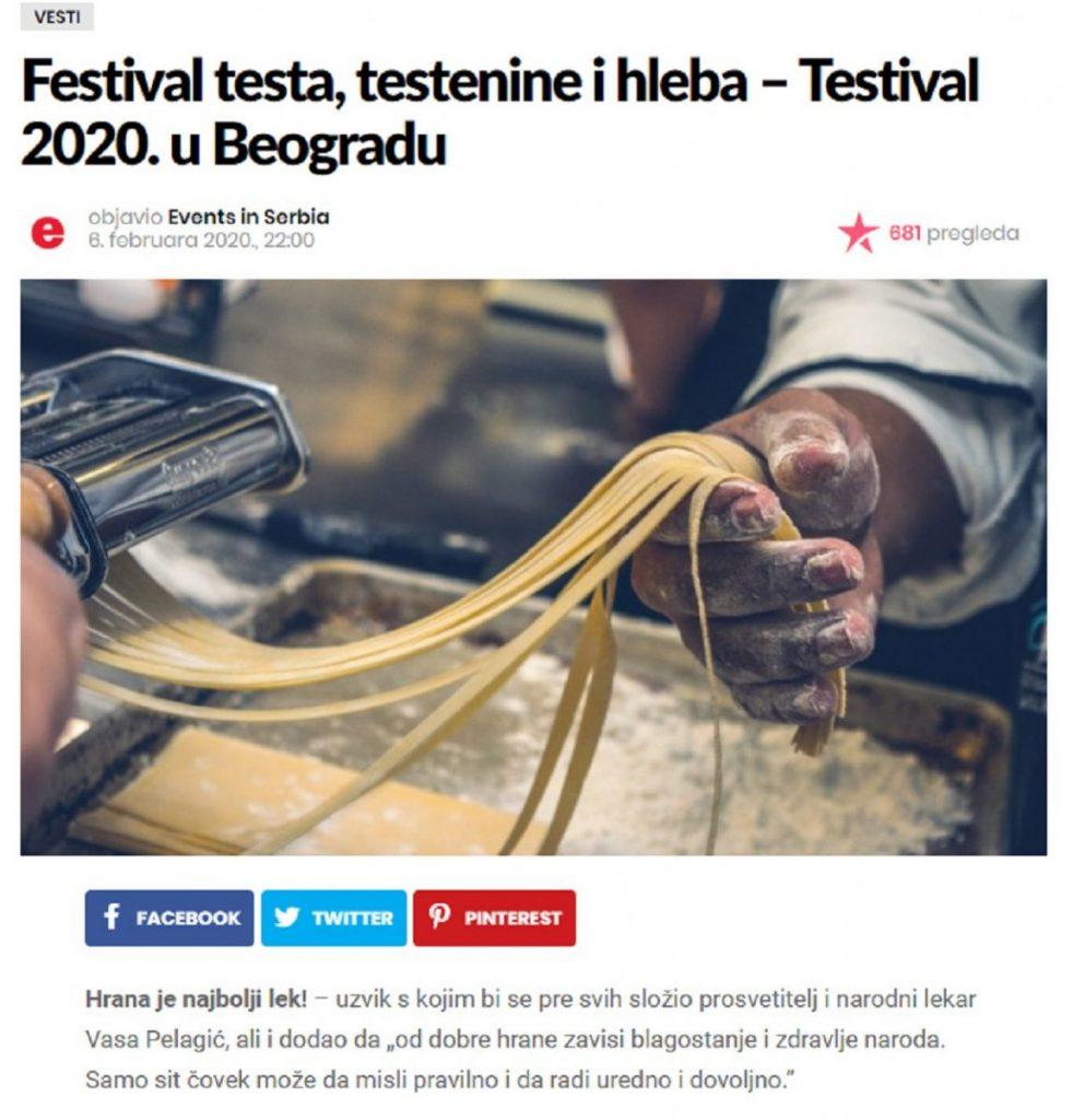 Najava za #TESTIVAL2020 na Eventsinserbia.com